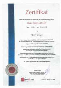 SEO Zertifizierung für Albert Krieger